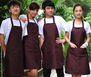 Tạp Dề Màu Nâu Làm Đồng Phục Quán Trà Sữa – Cafe